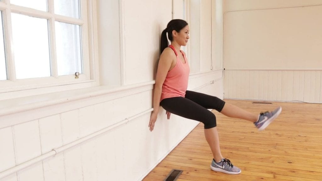 Wall Sit with Leg Extensions Home Workout no Equipment