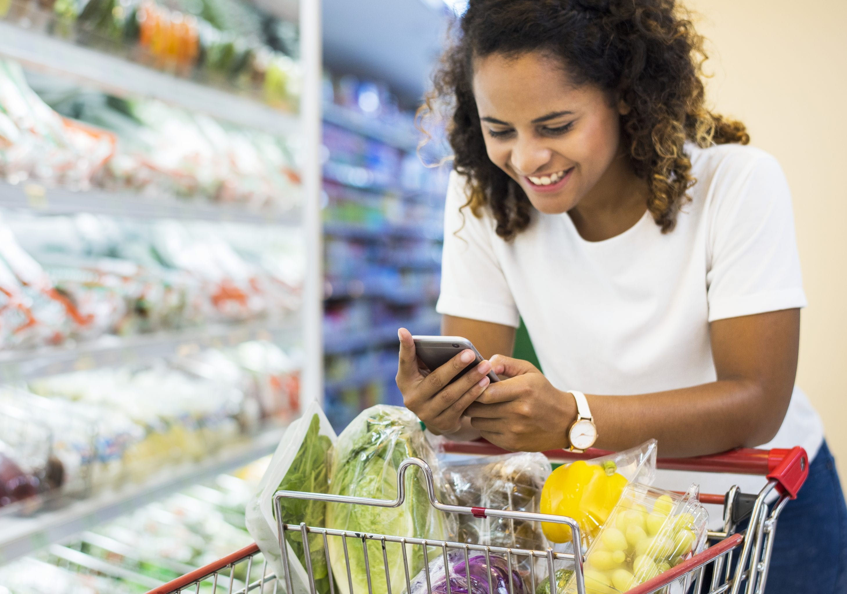 Healthy Woman Grocery Shopping - Following a Diet & Fitness Program