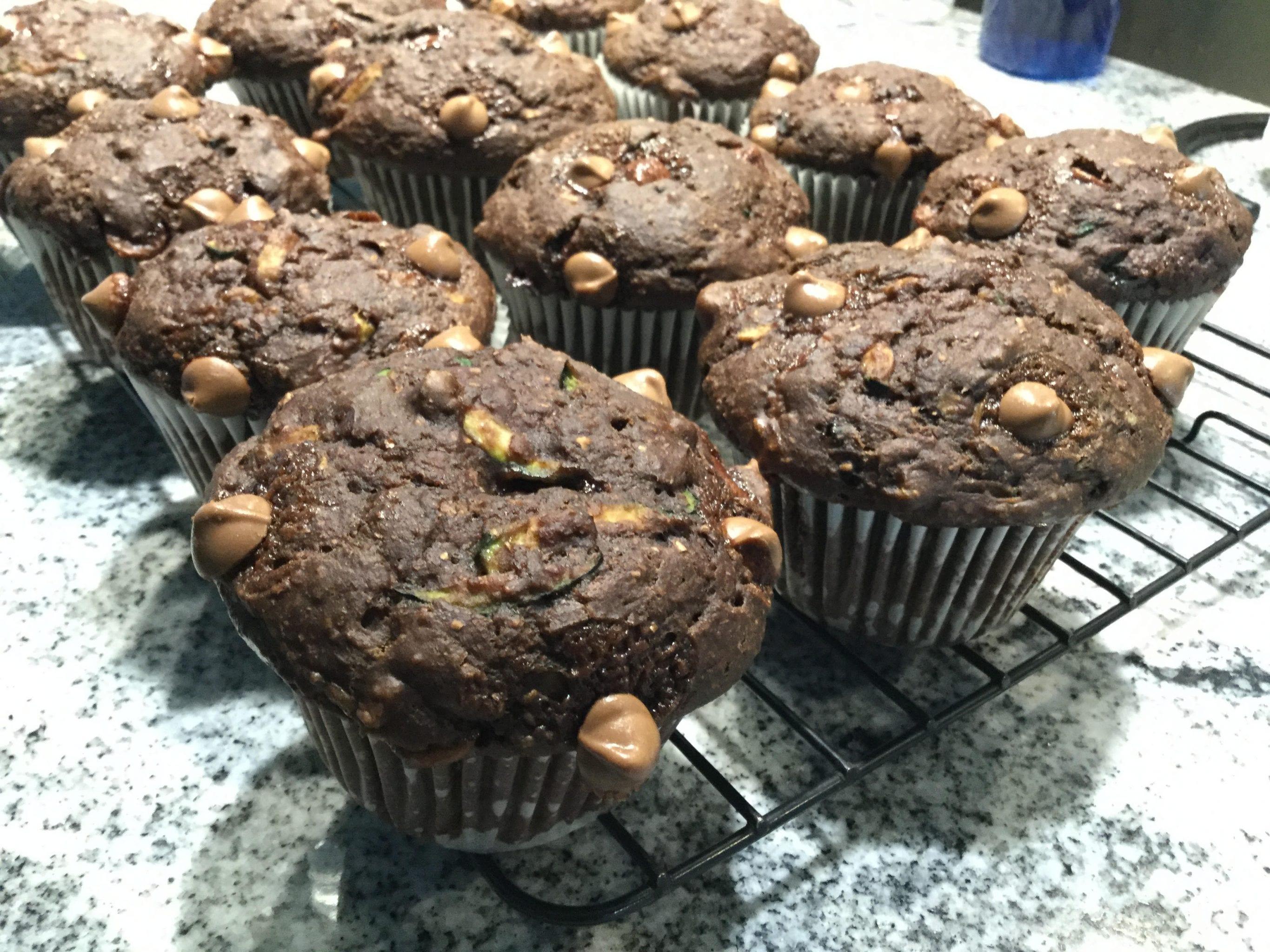 Chocolate Zucchini & Sweet Potato Muffins