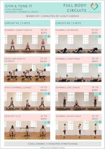 gym and tone it beginner workout printable pdf with photos