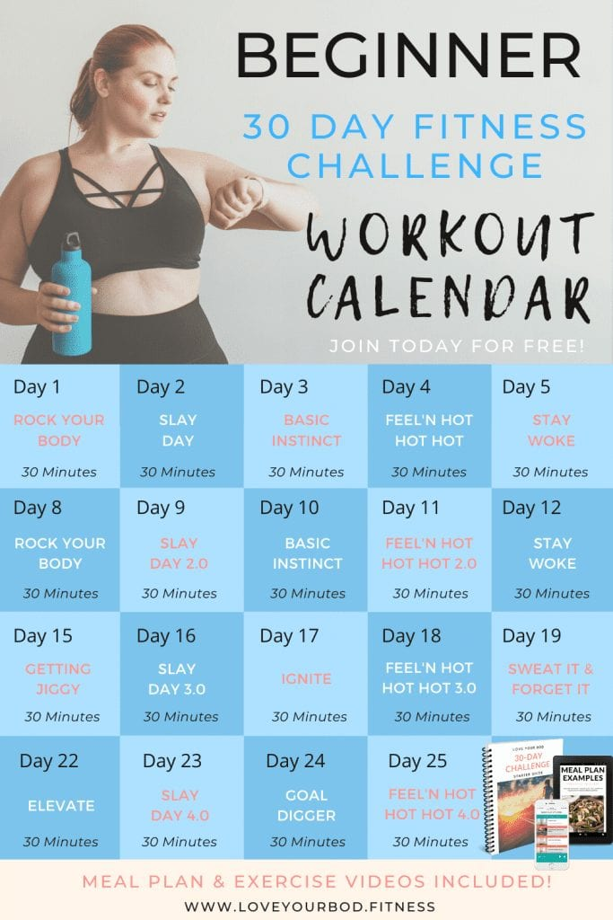 Free Beginner 30-Day Fitness Challenge Home Workout Calendar
